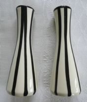 zz Retro vintage small pottery vases x 2 - shiny glaze with black and white stripes (SOLD)